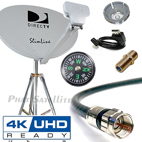 DIRECTV 4K SWM3 Complete Kit for Portable Mobile Camping RV Tailgate Trailer, Tripod, RG6 Coax, HDMI, Slimline Dish Reverse Band SL3 for UHD Genie H24 H25 HR34 HR44 HR55 ()