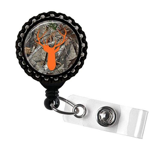 Camouflage and Orange Stag Deer Head Antlers Silhouette ID Tag Badge Reel by Geek -