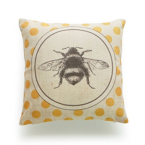 Hofdeco Decorative Throw Pillow Cover HEAVY WEIGHT Cotton Linen French Country Vintage Bee on Yellow Dots 18