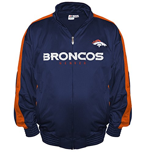 - NFL Denver Broncos Men's Big & Tall Team Track Jacket, 3X/Tall, Navy/Orange