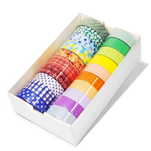 up - Pantone Washi Tape Value Bundle Set with 10 Rolls of Solid Color and 10 Rolls of Assorted Patterns Decorative Masking Washi ()