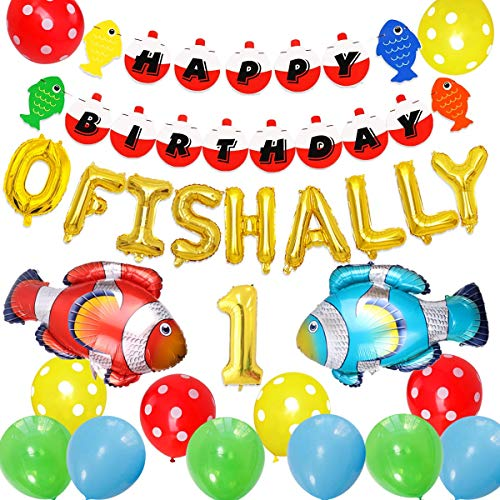 Fishing First Birthday Decorations, Gone Fishing Party Supplies, O Fish Ally One Balloons Banner, Fish Foil Balloons Little Fisherman the Big One Fishing 1st Birthday