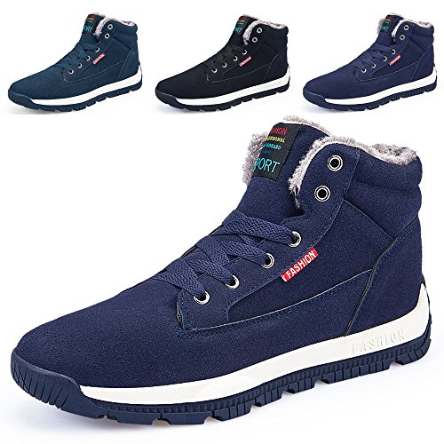 5c4f9102a2da2 SITAILE Men Winter Lace Up Boots Suede High Top Warm Booties Casual Ankle  Fur Lining Sneakers