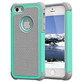 light blue and grey otterbox - iPhone 5/SE Case,iPhone 5S Case,AGRIGLE Shock- Absorption / High Impact Resistant Hybrid Dual Layer Armor Defender Full Body Protective Cover Case For iPhone 5/5S/SE (Gray/Green)
