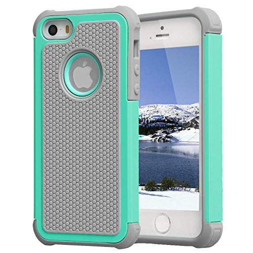 iPhone 5/SE Case,iPhone 5S Case,AGRIGLE Shock- Absorption/High Impact Resistant Hybrid Dual Layer Armor Defender Full Body Protective Cover Case Compatible with iPhone 5/5S/SE (Gray/Green) (Best Iphone 5s Case Ever)