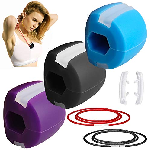 Jaw Exerciser Double Chin Reducer Eliminator for Jawline Shaper Facial Toner Jawz Exercise Ball to Face Lift Chisel Chin Slimming & Neck Muscle Natural Slim Jaws Mouth Strap Band (Black+Blue+Purple)