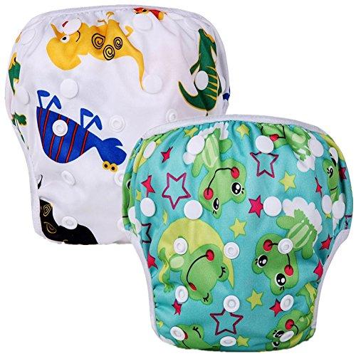 Mumsbest Swim Diaper Reusable Adjustable Baby Swim Diapers (Pack of 2) (Boy Color Dinosaur, Frog)