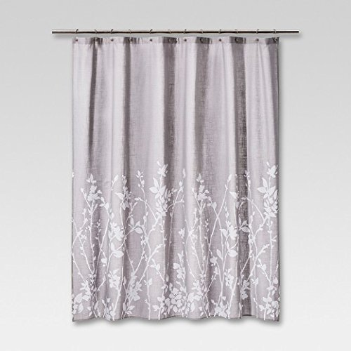 Amazon Project 62 Floral Print Shower Curtain Light Grey White 72x 72 100 Cotton Everything Else