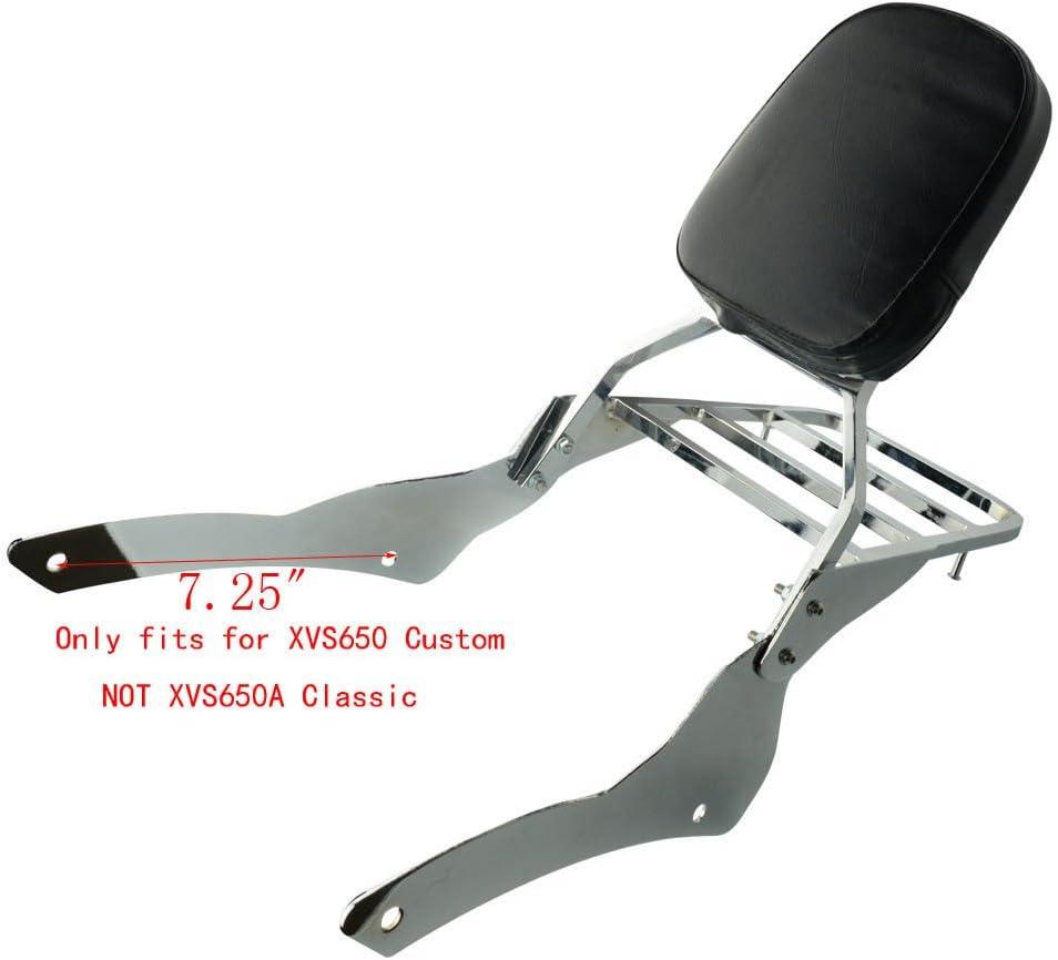 Motorcycle Chrome Backrest Sissy Bar With Luggage Rack Backrest Pad Fits For Yamaha V-Star Vstar 650 400 Custom 1996-2011