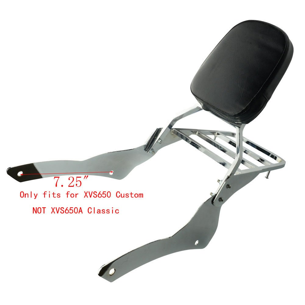 Chrome Motorcycle Chrome Backrest Sissy Bar With Luggage Rack Backrest Pad For Yamaha V-Star Vstar 650 400 Custom 1996-2011