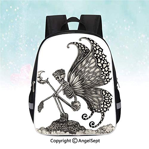 "Kids School Backpack,Dead Woman Skeleton Skull with Butterfly Wings Holding the Moon Sadness Icon Decorative,13"",Waterproof Cute School Backpack,Grey White"