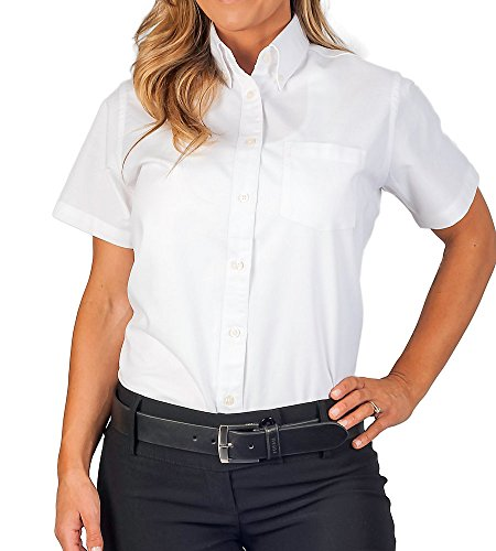 Womens Longer Tail Short Sleeve Oxford Shirt, White, M
