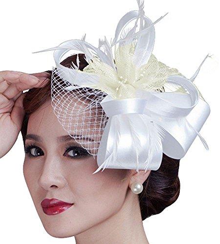 Accessoires Voilette Femme De Blanc Chapeau Cheveux Mariées Pour Mariage Fascigirl Plume Cérémonie qUaftnY