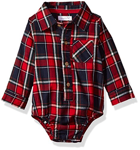 Mud Pie Baby Boys' Flannel Plaid Long Sleeve Collared One Piece Crawler, red, 0-3 MOS