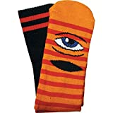 Toy Machine Sect Eye Stripe Crew Socks Orange Red Black 1 Pair Skate Socks