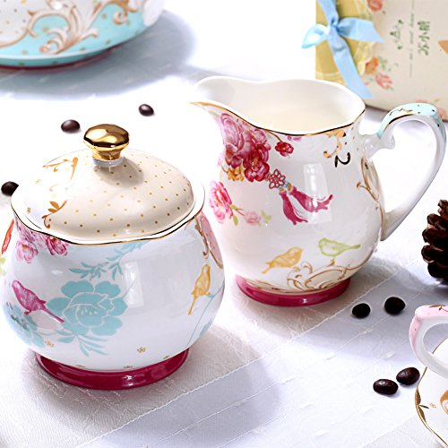 AWHOME Sugar and Creamer Set for Coffee and Tea Red Floral Painted Classic Porcelain by AWHOME (Image #3)
