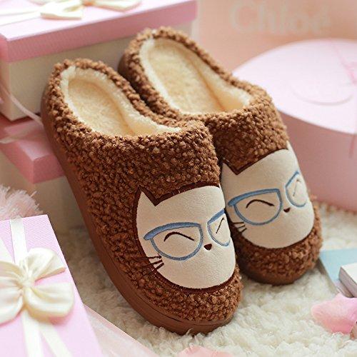 Cotone fankou pantofole femmina Pacchetto Inverno con caldi e accoglienti interni con grazioso cartoon coppie pantofole spessa maschio ,39-40, caffè - 7