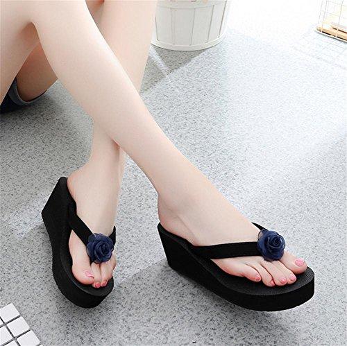 pengweiSuelas m¨¢s gruesas zapatillas sandalias de playa con sandalias de flores de moda zapatillas cool 1