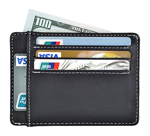 RFID Wallet Front Pocket Wallet Slim Wallet for Men Animal-Free PU Leather in Black Gift Box Package (Animals Mens Wallet)