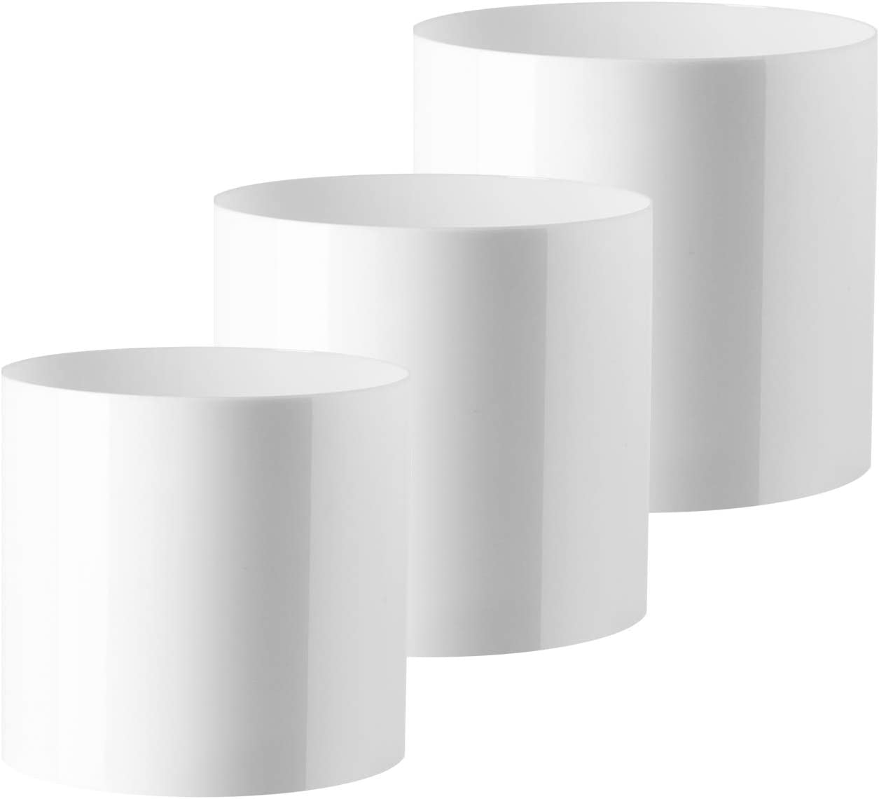 "Royal Imports Flower Acrylic Vases Cylinders - Decorative Centerpiece Display for Home or Wedding - Non Breakable Plastic, Set of 3 (4"", 5"", 6"") - White"