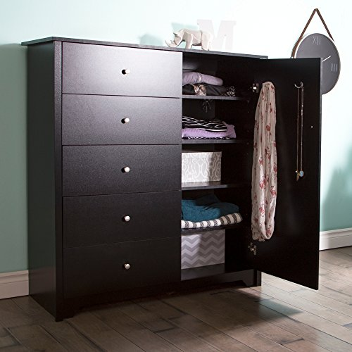 South Shore Vito Door Chest with 5 Drawers and Adjustable Shelves, Pure Black