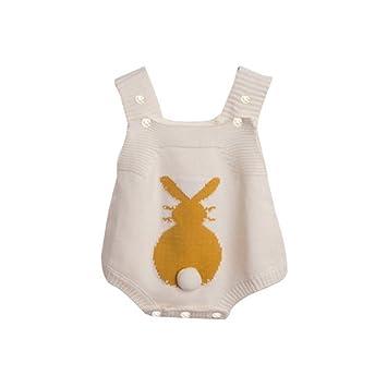 88253901c5d07 Dragon Honor ベビー ロンパース ニット セーター サロペット 可愛い ウサギ柄 ふわふわ しっぽ 新生児サイズ 女の子 男の子