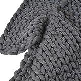 Digood_blanket •Thick Wool Bulky Knit Throw Chunky Sofa Handmade Soft Bed Rug Blanket (Dark Gray, 39.4''x47.3'')