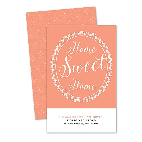 Scalloped Border Personalized Moving Announcements (Peach) ()