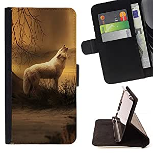 For Samsung Galaxy S6 active/G870A/G890A (Not Fit S6) White Wolf Forest Night Mist Fog Nature Art Style PU Leather Case Wallet Flip Stand Flap Closure Cover
