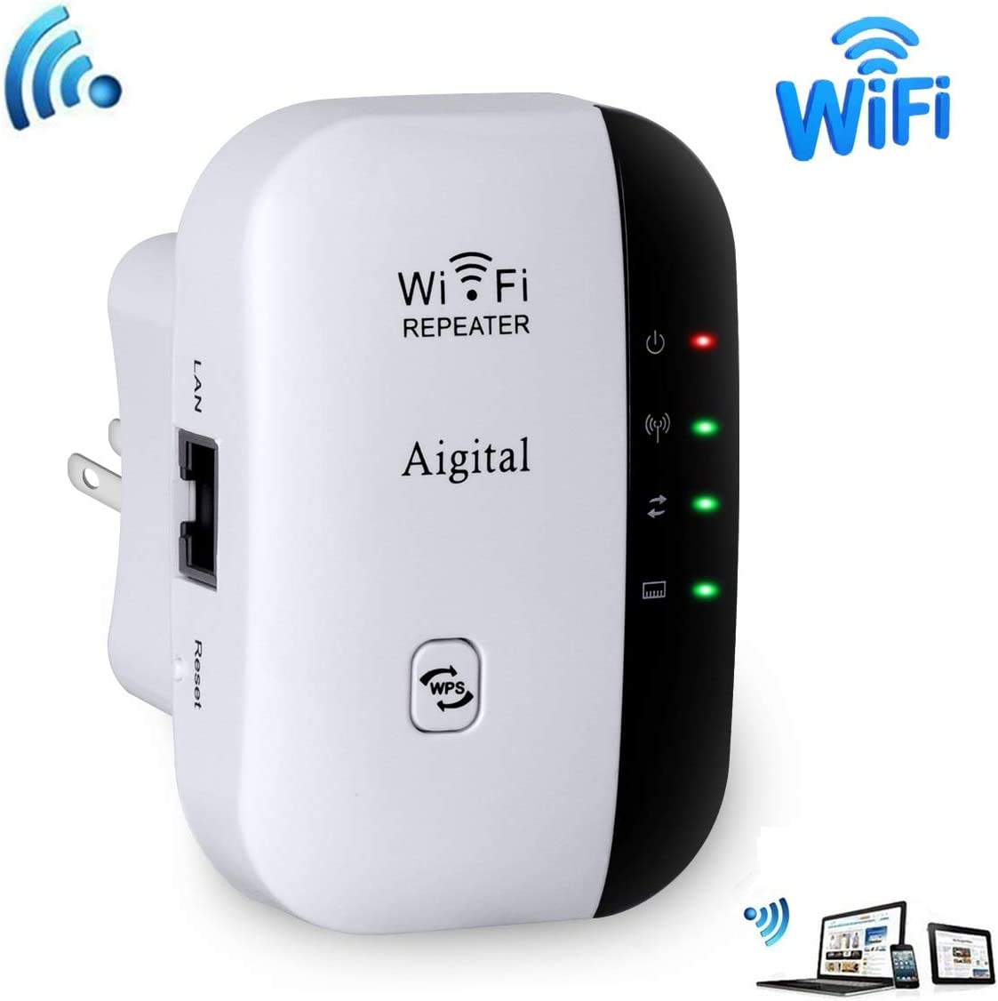 Aigital WiFi Extender 300 Mbps Wireless Repeater Internet Signal Range Booster Adapter, Easy Setup WLAN Network Amplifier Access Point Dongle WiFi Blast - 2.4GHz WPS Function New Chip