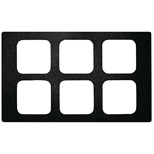Sixth Size Food Bar Tile Tray For Cold Foods Black Melamine - 21'' L x 12 3/4 W by Hubert