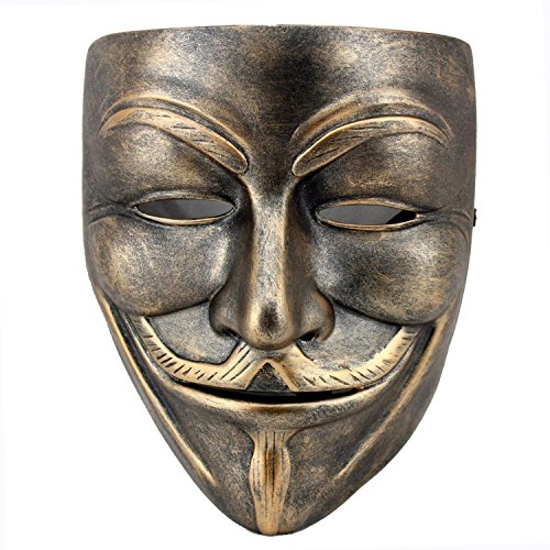 Guy Fawkes Girl Costume (Gellwhu V for Vendetta Mask Resin Anonymous Guy Fawkes Halloween Costume Mask (Color B))