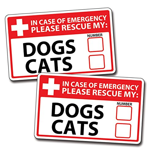 1st Responder Emergency Dog & Cat Rescue Decal Sticker Fireman First Aid Fire Pet Dog Window Graphics