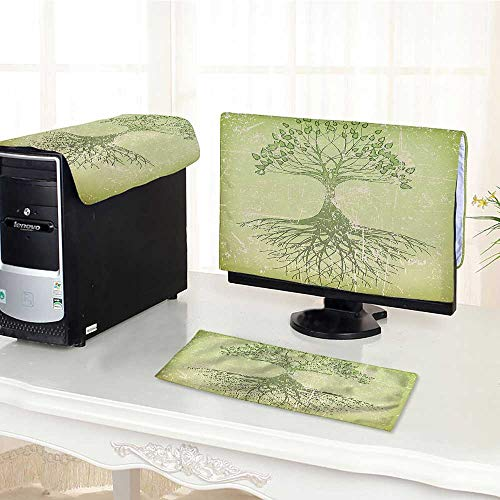 Computer Monitor Dust Cover 3 Pieces Life Decor Collection Grunge Tree with The Roots in Soil Reflection Mystic Life Antistatic, Water Resistant /21