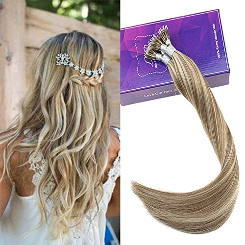 ghlights Extensions Nano Tip Light Brown to Platinum Blonde Fusion Ring Loop Remy Nano Tip Human Hair Extension 1g/Strand (Brown Platinum Ring)