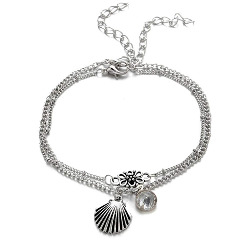 Myhouse Silver Color Shell Rhinestone Flower Multi-Layer Foot Chain Sandal Beach Barefoot Anklet for Women Girls