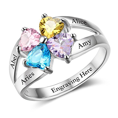 Lam Hub Fong Personalized Mothers Rings 4 Simulated Birthstones Rings Mother's Day Rings for Grandmother Best Friends Rings (5)