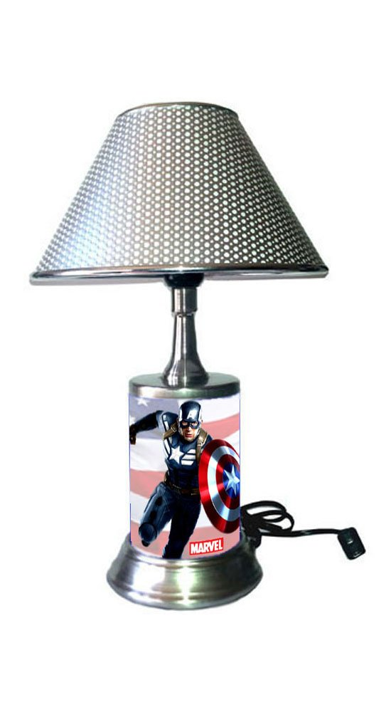 JS Captain America Lamp with Chrome Shade, Marvel