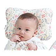 Baby Pillow For Newborn Breathable 3-Dimentional Air Mesh Organic Cotton, Protection for Flat Head Syndrome Bambi Pink