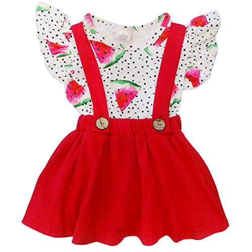 Boutique Girls 2 Piece - So Sydney Toddler & Girls 2 Pc Short Sleeve Skort Set (4T (M), Watermelon Polka Dot)