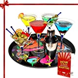 Cheap Martini Glasses Cocktail Shaker Gift Set 16 Piece Mouth Blown Cobalt Blue Infused Crystal Clear Martini Glasses Gift Set with Shaker Olive Picks Olive Dish Festive Bar Serving Tray Free Recipe Booklet