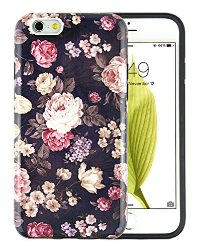iPhone 6 Case, Dimaka Floral Pattern Prime Cute Floral Inked Pattern Hybrid 2 in 1 Protective Candy Shell with Safe Rubber and Pime Girly Perfection Hardcover for iPhone 6/6S 4.7