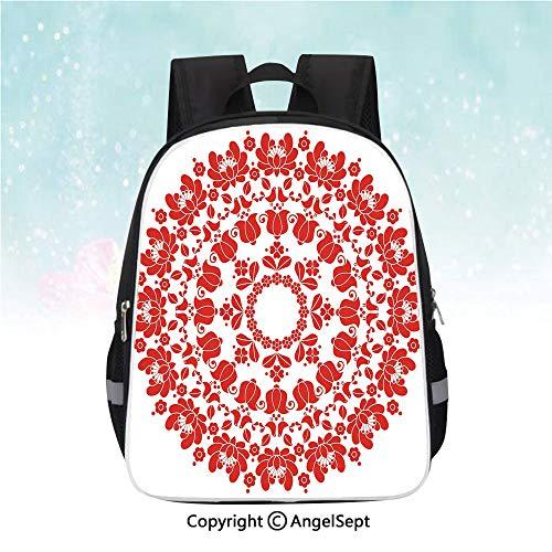 Hungarian Hemp - Nylon Fabric Backpack,Hungarian Round Folk Art Pattern Tulips Traditional Kalocsai Old Fashioned Decorative,13