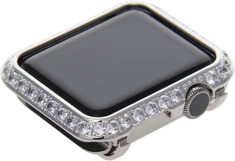 Callancity 42mm Crystal Metal Case Plated Platinum Rhinestone 3.0mm Big Diamond Face Cover Compatible with Apple Watch Series 3/2/1 for Men/Women (Platinum, 42mm)