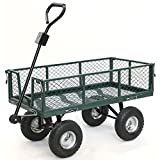 Yaheetech Steel Crate Wagon Garden Cart Trailer Yard Gardening Patio 800 lbs Load Capacity