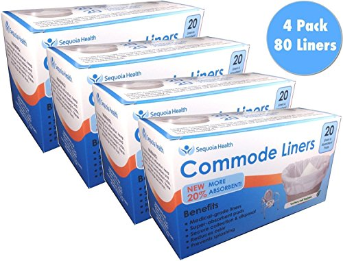 Commode Liners (80 Count) - Medical Grade Sanitary Liner Bags with Absorbent Gelling Pad for Commode Pail and Bedside Toilet by BrightCare - Commode Pail Liner