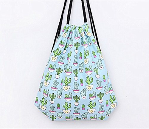 Incendemme Tasche Kaktus Drucken Rucksack Jutebeutel Blau Turnbeutel