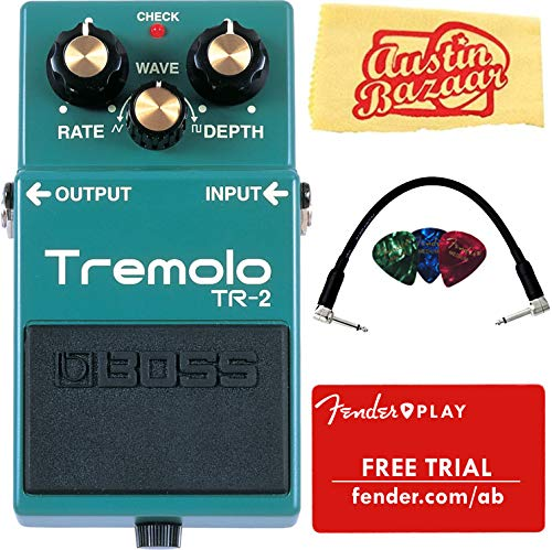 Boss TR-2 Tremolo Bundle with Fender Play Online Lessons, Picks, Patch Cable, and Austin Bazaar Polishing ()