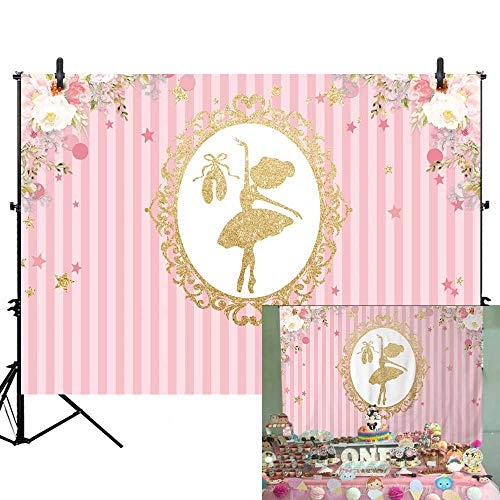 (Allenjoy 7X5ft Little Fairy Pink Flowers Girl's Party Backdrop Newborn Infant Baby Shower 1st First Birthday Party Sweet 16 Photography Background Candy Sweet Table Decoration Photo Booth)