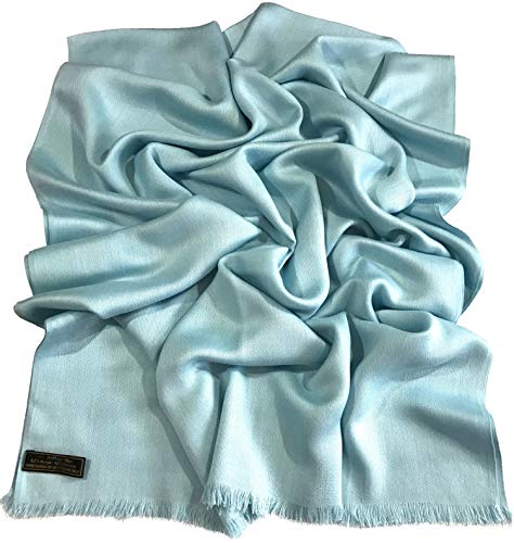 Baby Blue Solid Color Design Fringe Shawl Scarf Wrap Stole Throw Pashmina CJ Apparel NEW